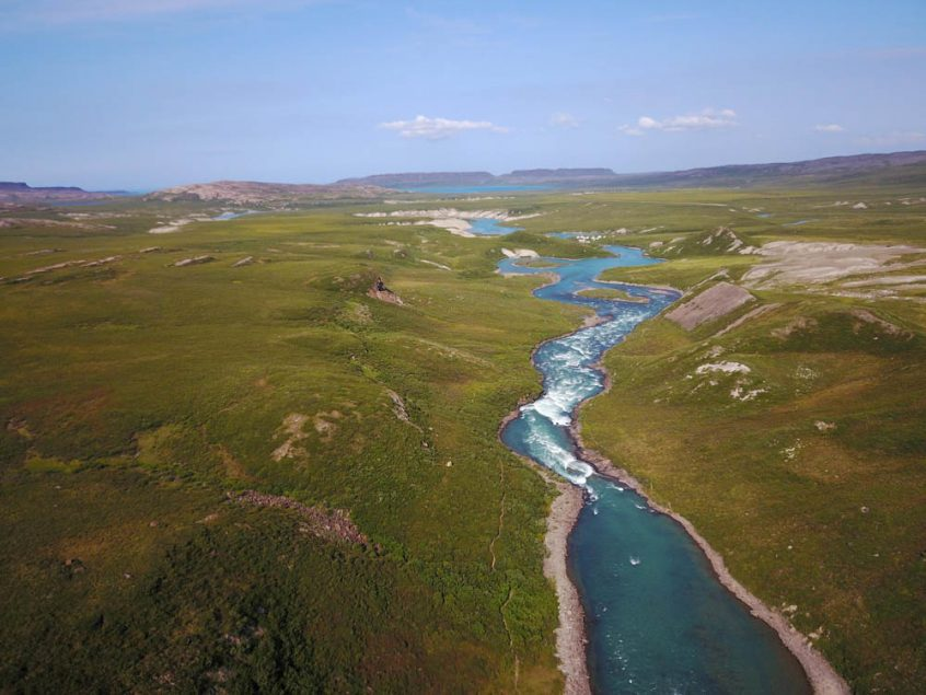 Aerial views of Tree River in the Northwest Territories