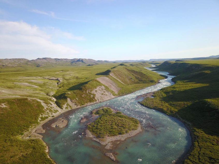 Aerial View of Tree River, Plummer's Arctic Fishing Lodges