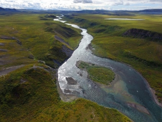 Aerial view of Tree River - Plummer's Arctic Fishing Lodges