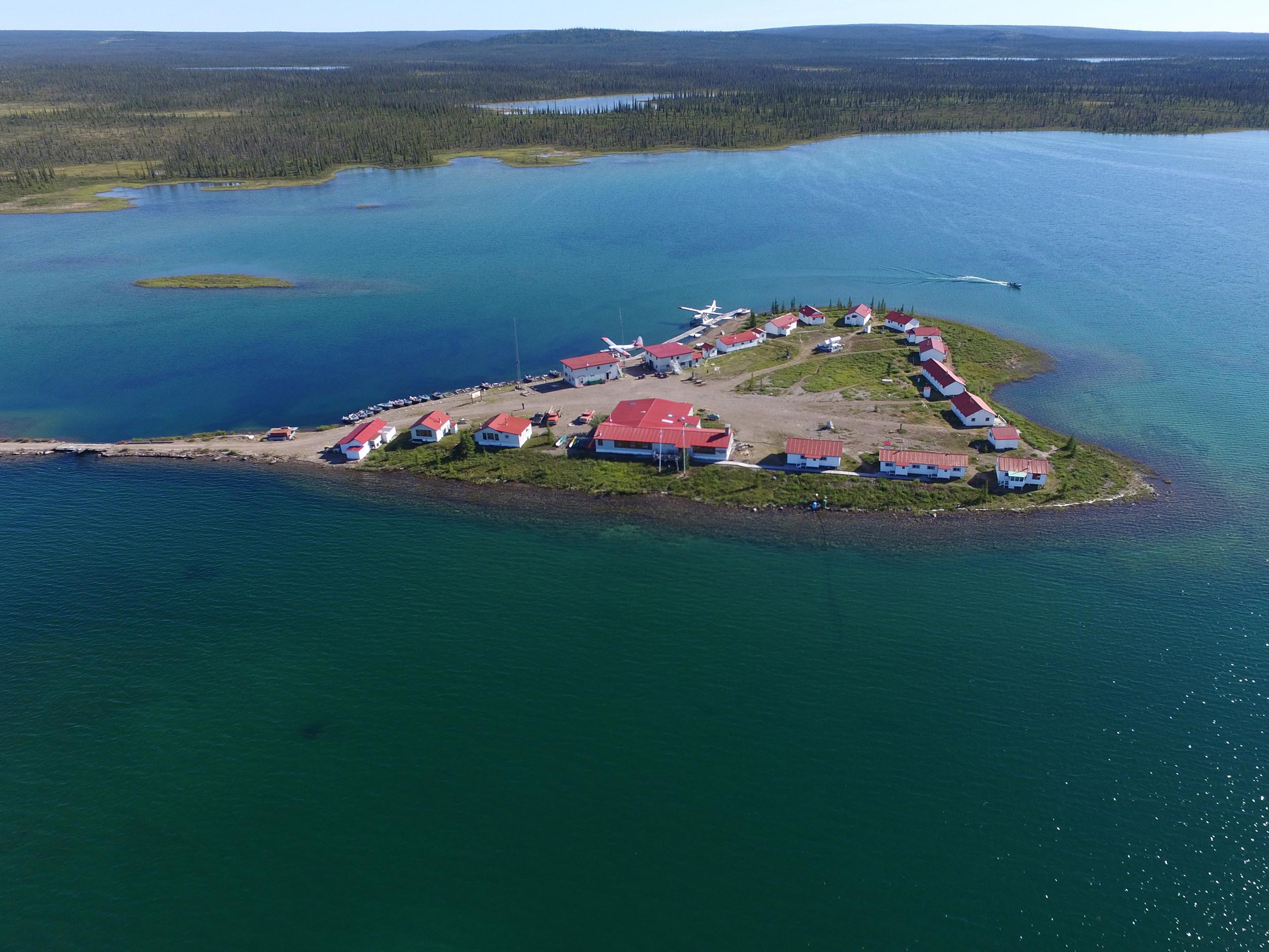 Plummer's Great Bear Lake Lodge Morning Aerial View