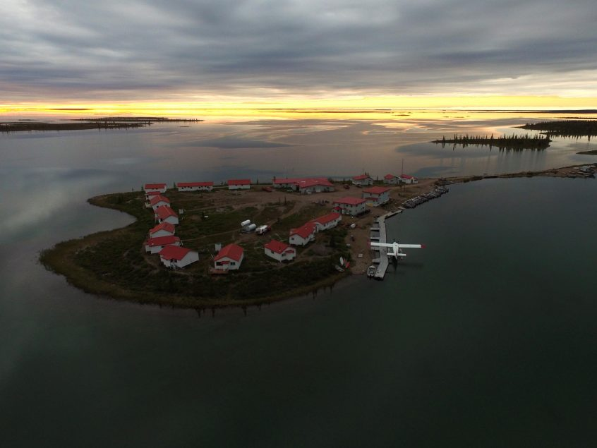 Plummer's Great Bear Lake Lodge Evening Aerial View