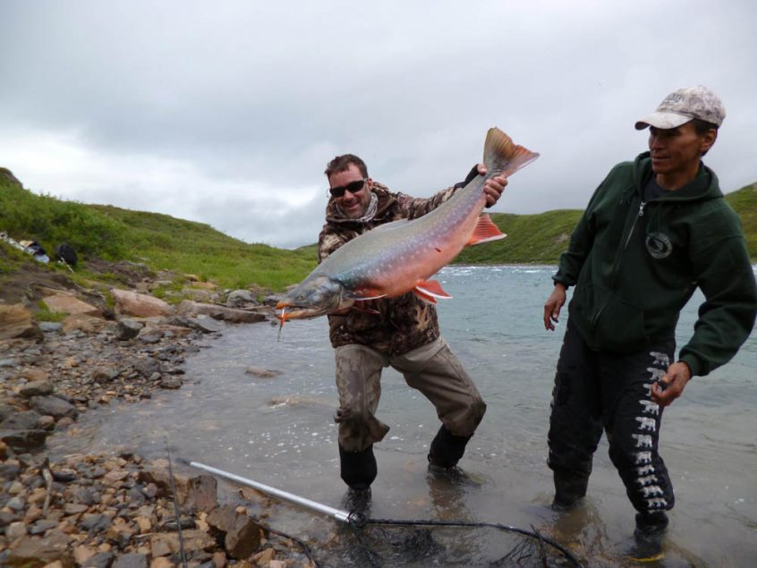 Fishing arctic char at Tree River, Plummer's Arctic Lodges